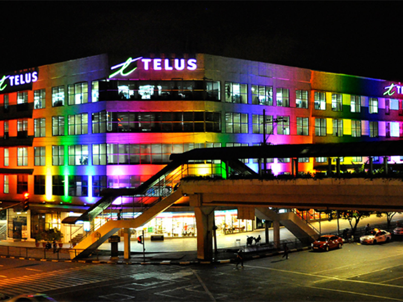 ABS-CBN News: TELUS House McKinley lights up with rainbow colors